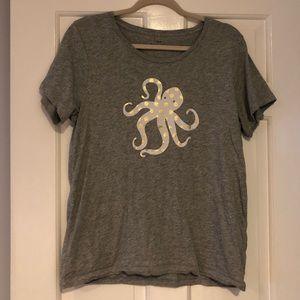 J Crew large Grey short sleeve shirt with Octopus